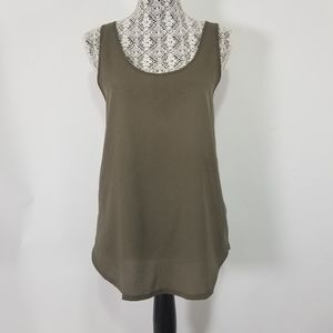 French Connection olive green tank top SMALL